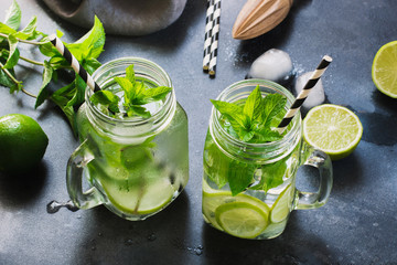 Mojito cocktail in mason jar on black. Close up. Copy space.