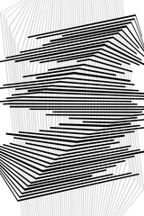 Abstract Black and White Geometric Pattern with Stripes. Optical Psychedelic Illusion. Wicker Structural Texture. Raster Illustration