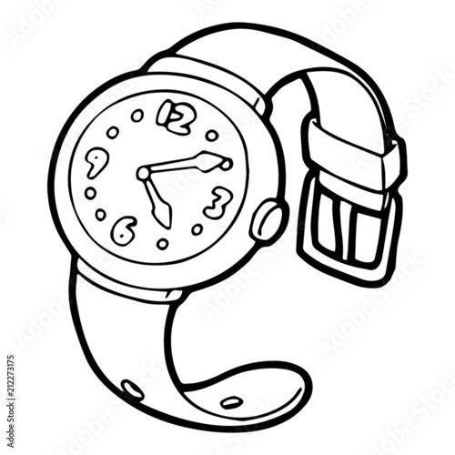 Wrist Watch Cartoon Illustration Isolated On White Background For