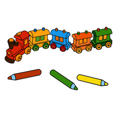 Color pencil and train cartoon illustration isolated on white background for children color book