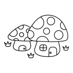 Mushroom house cartoon illustration isolated on white background for children color book