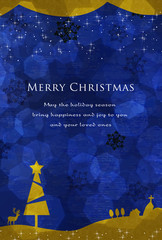 クリスマスカード ハガキサイズ 青とゴールド 夜