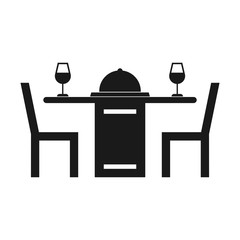 Simple, flat, black silhouette dinner for two icon. Dinner table with wine. Isolated on white