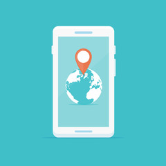 Smartphone with globe and location marker icon vector illustration in flat style