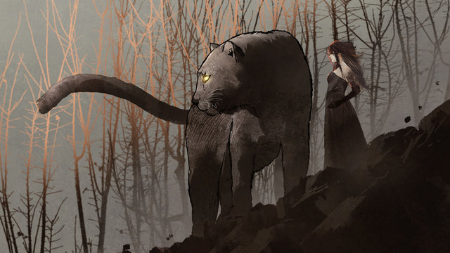 giant black panther and its owner standing on rock mountain, digital art style, illustration painting