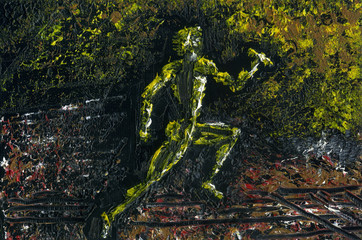 Runner Sprinter during the finish in the relay with a baton in his hand. The idea of purposefulness and strength. The picture reflects the essence of the sports run. Oil painting on canvas.