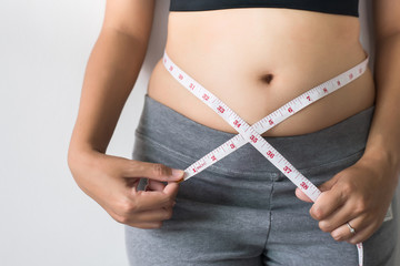 Woman measuring waist with  measuring tape,Excess belly fat and overweight fatty bellys of female