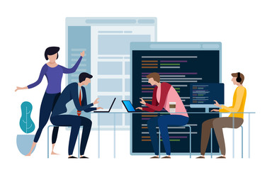 Developing programming and coding technologies. Website design. Programmer working in a software develop company office in a team work. Wall mural
