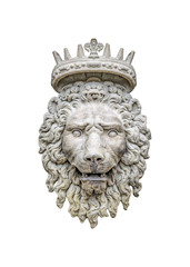 Lion With Crown Sculpture Isolated Photo
