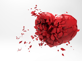 3D heart breaking render illustration on white BG