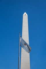 Buenos Aires Obelisk and Argentinian Flag - Buenos Aires, Argentina