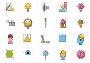 35 Colorful Creative Process Icons