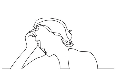 continuous line drawing of woman in depression