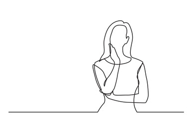 continuous line drawing of worried woman thinking - fototapety na wymiar