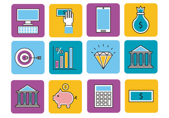 16 Colorful Finance Icons on Rounded Squares