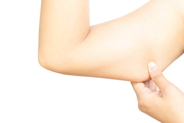 Closeup woman hand checking upper arm on white background health care and medical concept