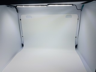 white photo studio box with lights