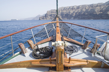 Bow on wooden ship in the sea, Santorini