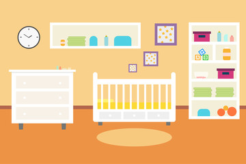 Baby room bedroom Child interior. furniture and toys. Playroom for kid in flat style.