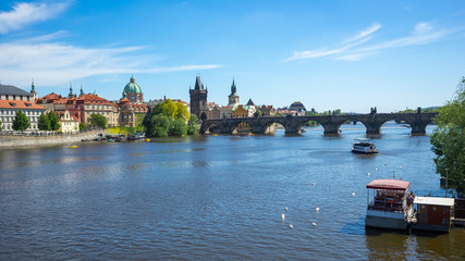 Vltava River with Charles Bridge in Czech Republic