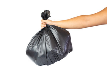 Hands holding garbage bag isolated on white background.