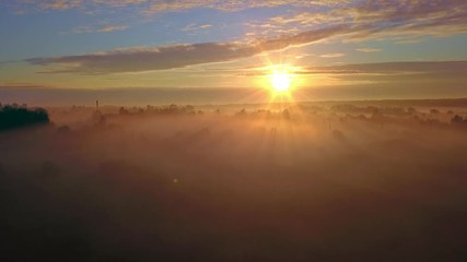 Wall Mural - Aerial misty sunrise shot with for and beautiful sunlight on background
