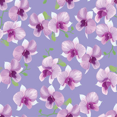 Seamless pattern of tropical orchid flowers on purple background template. Vector set of blooming floral for holiday invitations, greeting card and fashion design.