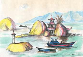 landscape with boats and stones in Asia