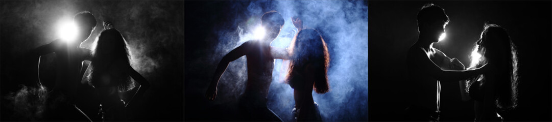 Silhouette of Attractive Body Shape with Fluttering Curl Hair in Smoke