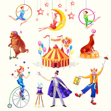 Circus set. Illustration with the image of the tent, clowns, juggler, acrobats, animals and on magician with a rabbit. Isolated vector illustration.