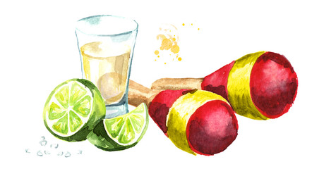 Mexican maracas and tequila shot with lime and salt. Hand drawn watercolor illustration, isolated on white background