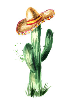 Mexican cactus in sombrero. Hand drawn watercolor illustration, isolated on white background