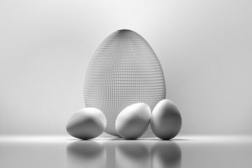 Four Easter eggs. One big egg made of wire and three small white eggs. Monochrome image. 3d illustration.