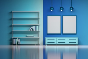 Modern interior in blue colors with empty blank posters. Living space of a boy or kids room - a shelf with books, lamps, cabinet over the shiny reflective surface. 3d illustration.
