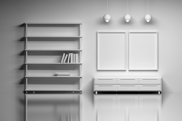 Modern interior with empty posters. Living space or studio - a shelf with books, lamps, cabinet over the shiny reflective surface. 3d illustration.