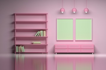 Modern interior in pink colors with empty blank posters. Living space of a girl or kids room - a shelf with books, lamps, cabinet over the shiny reflective surface. 3d illustration.