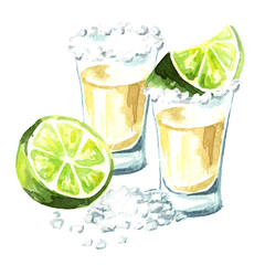 Tequila shot with lime and salt. Hand drawn watercolor illustration  isolated on white background
