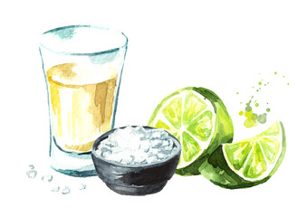 Tequila shot with lime and salt. Hand drawn watercolor illustration, isolated on white background
