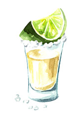 Tequila shot with lime and salt. Hand drawn watercolor vertical illustration, isolated on white background