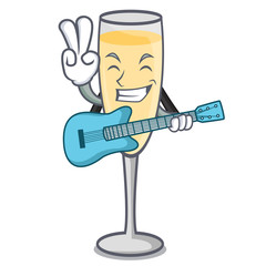 With guitar champagne mascot cartoon style