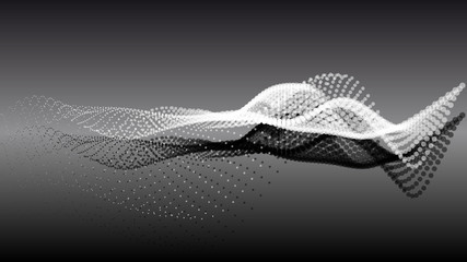 Abstract particle noise points with depth of field. Futuristic digital illustration. Technology points waveform.