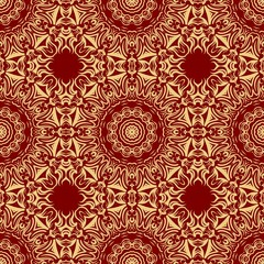 pattern with geometric color ornament, design for print fabric, bandana. vector illustration. red tone