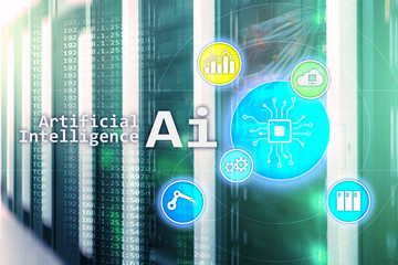 AI, Artificial intelligence, automation and modern information technology concept on virtual screen.