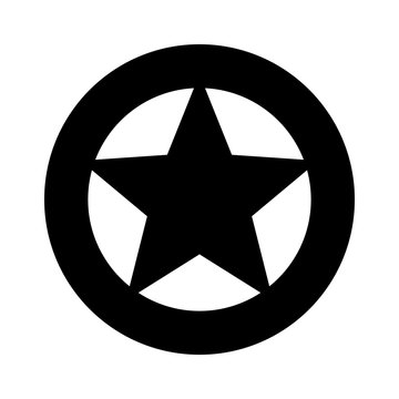 Sheriff or Texas Ranger wild west circular star in a wheel badge flat vector icon for games and websites