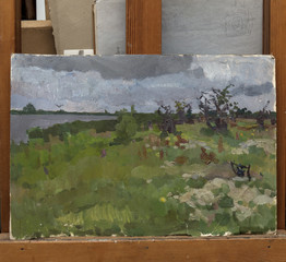 landscape, oil painting, hand made