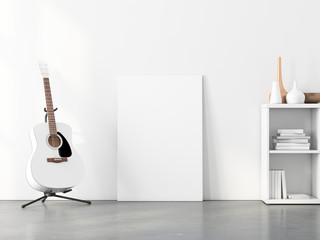 Vertical Artwork poster Mockup with acoustic guitar, 3d rendering