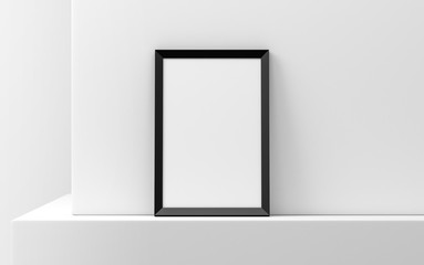 Black Wooden Frame with Poster Mockup standing against white wall. 3d rendering