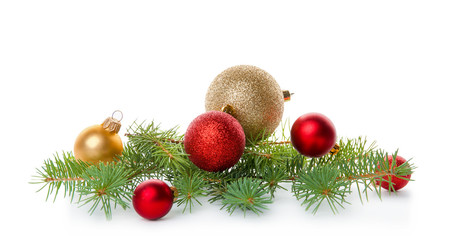 Composition with Christmas tree branch and festive decor on white background