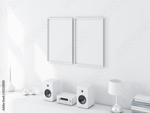 Two white poster frames mockup in light interior, 3d rendering ...