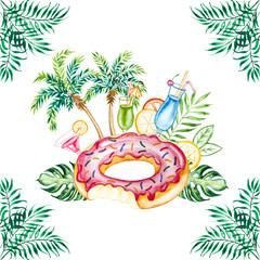 Watercolor beach tropical  set. Hand drawn summer objects: citrus, cocktails, palm, leaves and donut inflatable pool float. Illustration isolated on white background.